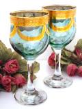 <英国ミッドセンチュリー>優雅な水色ガラス♪豪華な金彩が美しいクリスタルガラスのしっかり大きなワイングラス「2点セット」