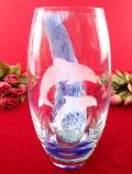 <英国ミッドセンチュリー>2頭の海のイルカさん♪透明に青ガラスのグラデーションが美しいアートフルなフラワーベース