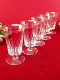 <英国ミッドセンチュリー>愛らしいフォルム♪透明なアンティークガラスのリキュールグラス「5個セット」