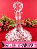 1930年代:ガラス細工が素晴らしいクリスタルガラス♪光のカットが美しい珍しい小ぶりなデカンタ