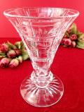 1930年代:植物模様の立体的なガラス細工♪透明度の高いクリスタルガラスが美しいとても大きなフラワーベース