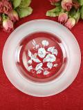 <英国ミッドセンチュリー>愛らしいハミングバード♪スリガラス加工がとても美しいガラスのお皿「ディスプレイスタンド付」