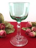 <ヴァセリンガラス>1890年代:エドワーディアン時代♪素晴らしいウランガラスの光!リアルアンティークのワイングラス