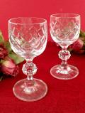 <英国ミッドセンチュリー>立体的なガラス細工がきれい♪透明度の高いクリスタルガラスのシェリーグラス「2個セット」