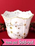 <英国ミッドセンチュリー>リンゴの可憐なお花たち♪たっぷりとした金彩も美しいとても大きな鉢カバー