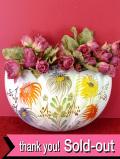 1940年代:満開のハンドペイントのお花たち♪金彩もきれいなとても大きくて優雅な壁掛けプランター