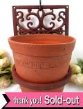 1960年代:植物模様の透かし細工♪アイアンのプラトンポットスタンドが付いた素焼きの鉢「2個セット」