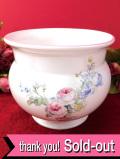 <英国ビンテージ>優雅なバラのお花のブーケ♪ロマンチックな英国の鉢カバー