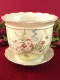 1930年代:英国の野の花たち♪優しい曲線のフォルムが美しいロマンティックな鉢「受け皿付:2点セット」