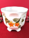 <英国ビンテージ>優しいナスタチウムのお花たち♪優雅でロマンティックな鉢カバー