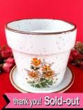 <英国ビンテージ>ロマンチックなデイジーのお花たち♪ずっしりと重たいアイアンストーンの鉢カバーと受け皿「2点セット」