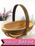 <英国ミッドセンチュリー>木のぬくもりがあたたかい♪カントリーな木製の花摘みスモールバスケット