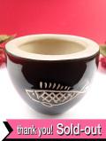 <英国ビンテージ>愛らしいお魚さん♪あたたかなこげ茶色がきれいな英国の素焼きの分厚い鉢カバー
