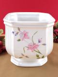<英国ミッドセンチュリー>ピンクの可憐な野の花たち♪ロマンチックなフォルムの大きな鉢カバー