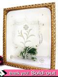 1930年代:華やかなヴィクトリアンデザイン♪お花の紋様が素晴らしい金色に輝く大きな英国アンティークミラー