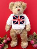 <英国テディベア>イギリスの国旗の手編みのセーターを着た愛らしいテディ君