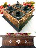 1940年代:美しい白蝶貝細工♪野鳥の木工細工が素晴らしい貴重なスパイスBOX