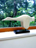 ★★<英国ビンテージ>アートフルな木彫りの大きな白いグースさん♪ナチュラルでカントリーな置物