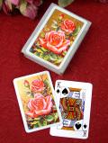 <英国ボタニカルアート>金色に輝く薔薇のお花♪とても貴重な英国のトランプ「専用のお箱入り」