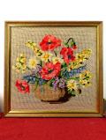 <英国ビンテージ>満開のお花たちの花かご♪とても豪華で立体的な刺繍の額