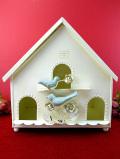 <ローラ・アシュレイ>愛らしいバードハウス♪幸せの青い鳥と薔薇のお花のとても大きなキャンドル・ホルダー