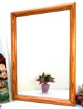 <英国ビンテージ>あめ色になった美しいパイン材のカントリーな壁掛けミラー