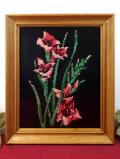 <英国ビンテージ>アマリリスのお花たち♪優雅な手刺しゅうの額
