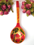<英国ビンテージ>愛らしいいちごたち♪木工細工が美しい大きなオーナメントスプーン