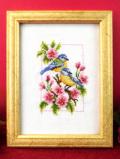<英国ビンテージ>幸せの2羽の青い鳥♪クロスステッチの愛らしい野鳥さんとお花の額