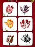 <オランダ製:未使用品>優雅なボタニカルアート♪美しいお花たちのコースター「6枚セット」