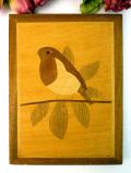 <英国ハンドメイド>象嵌細工の野鳥さん♪カントリーな空気がいっぱいのウォールオーナメント