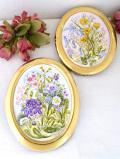 <英国ビンテージ>水彩画の原画♪英国の野の花たちの優雅な2WAYの額