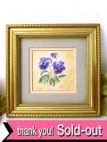 <英国ビンテージ>青と紫のパンジーのお花たち♪愛らしい水彩画の額