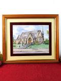 <英国ビンテージ:版画>英国カントリーサイドの教会♪美しい英国の風景の大きな金色の額