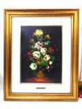 <英国オイルペインティング>本格的な油絵の原画♪縦60cm美しい英国の花々のとても大きな額