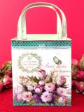 <フランス製>「La Maison des Fleurs PARIS」♪たくさんのお花が咲いたダブルの持ち手が付いたバッグの形のTIN缶