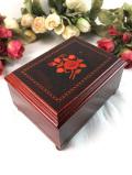 <英国ビンテージ>上品なピオニーのお花♪優雅な空気がいっぱいの木箱のミラー付宝石箱