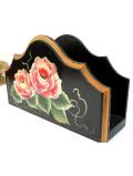 <英国ビンテージ>バラのお花のトールペイント♪木のぬくもりが優しいレターラック