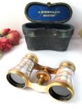 <アメリカ製>「A STOWELL & CO」素晴らしい白蝶貝♪無垢の真鍮の双眼鏡「革製ケース入り」