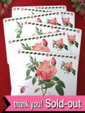 <デッドストック:未使用品>ルドゥテのボタニカルアート♪優雅なバラのテーブルマット「6枚組:お箱付」