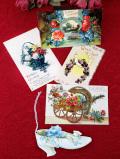 <アンティークカード>懐かしさが優しいお花たちの5枚のカードコレクション