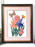 <英国ビンテージ>「Sophie Golaz」アイリスと2匹の蝶々♪とても大きな水彩画の額