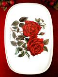 <英国ビンテージ>「Ena Harkness」真っ赤なバラ♪しっかりとした樹脂製の大きなトレイ