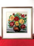 <英国ミッドセンチュリー>あたたかなお花たち♪花瓶に生けられた華やかなバラの刺しゅうのとても大きな額