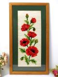 <英国ミッドセンチュリー>英国カントリーサイドの真っ赤なポピーのお花♪華やかな手刺しゅうの大きな額