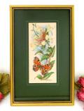 <英国ミッドセンチュリー>白いハニーサックルとオレンジの蝶々♪美しいシルク刺しゅうの額