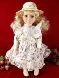 <英国ミッドセンチュリー>ヴィクトリアンドール♪麦わら帽子をかぶった女の子の大きなお人形「スタンド付」