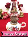 1940年代:英国カントリーサイドの野の花たち♪ぽったりとした陶器の英国アンティークの小ぶりなオイルランプ