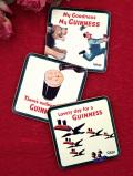 <英国ミッドセンチュリー>「GUINNESS」♪楽しいギネスビールのコースター「3枚組:お箱入り」