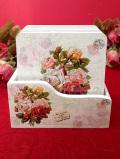 <デッドストック:未使用品>優雅なボタニカルアート♪バラのブーケの木製コースター「6枚組:木箱付」